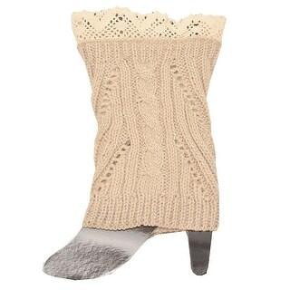 Fashion Knitting Women Tan Ivory Crochet Trim Detail Knit Leg Warmers