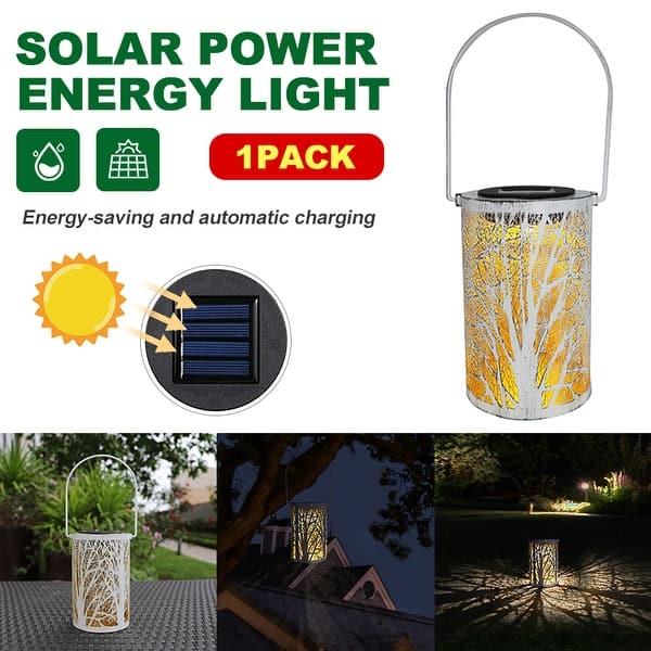 LED Solar Power Lantern Retro Hanging Outdoor Waterproof Light for Patio Garden