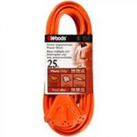 Coleman Cable 0825 3 Outlet Power Block, 14/3 X 25 Ft, Orange Sleeved