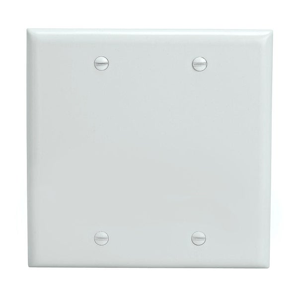 Blank 2 Gang Thermoplastic Panel Wall Plate (GFCI), White