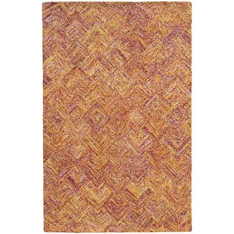 Pantone Universe Colorscape Handmade Loop Pile Faded Diamond Wool Rug