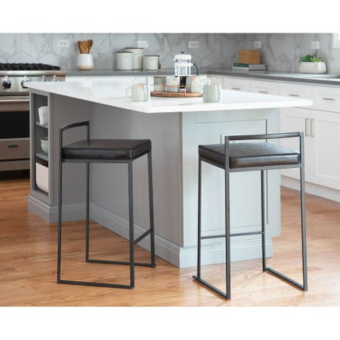 Fuji Contemporary Black Stackable Counter Stool (Set of 2) - N/A