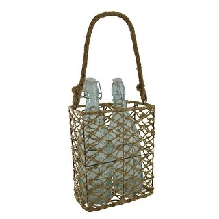2 Clear Glass Bottles In Decorative Jute Rope and Metal Basket Holder