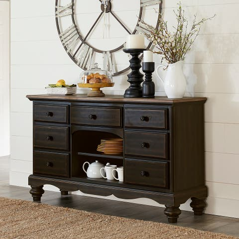 Hillsdale Furniture Pine Island II Wood Buffet, Aged Rubbed Black with Distressed Aged Pine Top - 36H x 61.25W x 16.75D