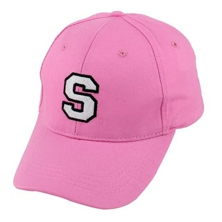 Woman Cotton Blends Letter Pattern Adjustable Baseball Cap Snapback Hat Pink