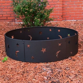 Sunnydaze Cosmic Stars and Moon Camping Fire Ring, Size Options Available - Black