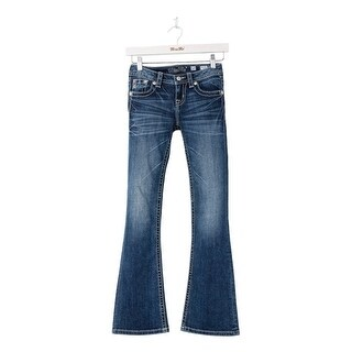 Miss Me Denim Jeans Girls Fan the Fire Boot Cut Dark Wash JK8774B2
