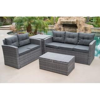 BELLEZE 4PC Deep Seating Sectional Patio Set Backyard Seat Sofa Dual Storage Ottoman Cushions Backrest, Gray
