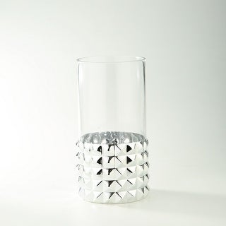 """12"""" Silver and Clear Pyramid Pattern Cylindrical Glass Vase - N/A"""