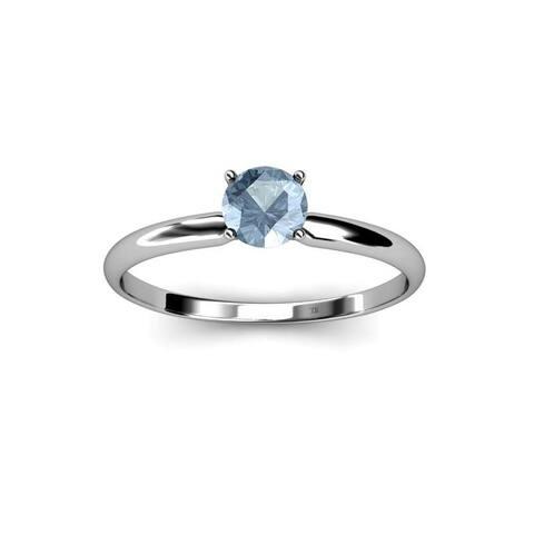 TriJewels Round Aquamarine 3/8 ct Womens Solitaire Engagement Ring 14K Gold