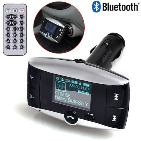 """AGPtEK 1.5"""" LCD Car Kit Bluetooth MP3 Player SD MMC USB Remote FM Transmitter Modulator with caller ID function - SIZE"""