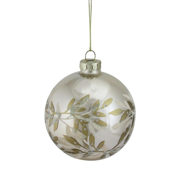 """Champagne Gold Glass Ball Christmas Ornament 4"""" (100mm)"""