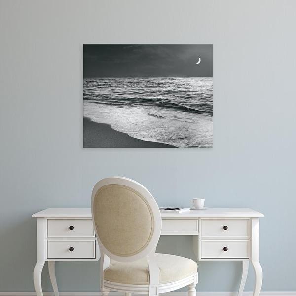 Easy Art Prints Sue Schlabach's 'Moonrise Beach Black and White' Premium Canvas Art