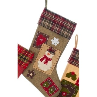 Patchwork Snowman with Plaid Cuff Decorative Christmas Stocking