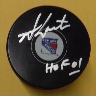 "Mike Gartner Autographed New York Rangers Hockey Puck ""HOF 01"" JSA"