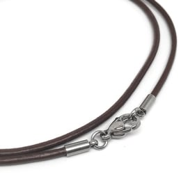 Loralyn Designs Brown Leather Necklace Cord (2mm) with Stainless Steel Clasps