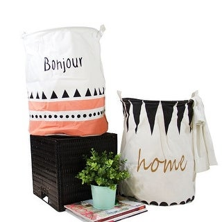 G Home Collection Bonjour Home Pink and Black Fabric Laundry Basket with Handles (Set of 2)