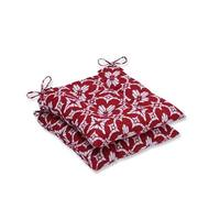 """Set of 2 Red and White Seat Cushions 19"""""""