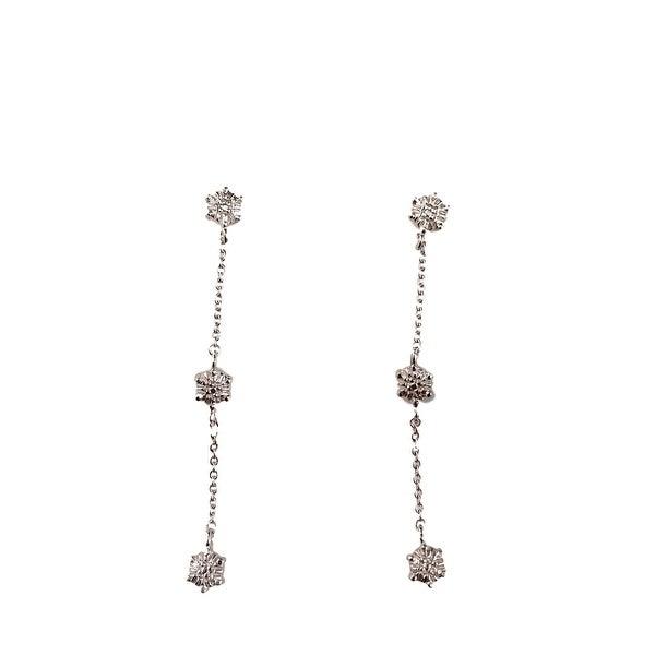 eli k Womens Sterling Silver Diamond Puff Heart Triple Drop Earring