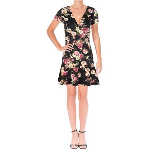 Aqua Womens Scuba Dress V-Neck