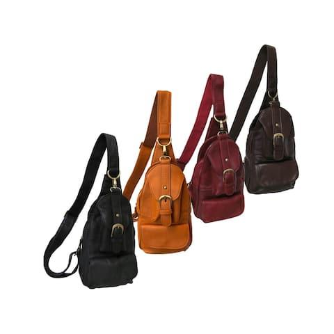 Amerileather Grylls Petite Cowhide Leather Multi-pocket Sling Backpack