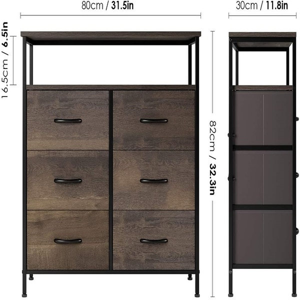 Dresser Chest with 6 Drawers, Wide Chest of Drawers with 2 Tier Wood Shelves, Sturdy Metal Frame