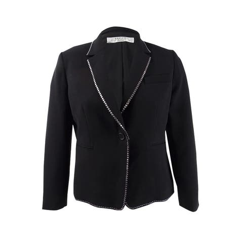 Tahari ASL Women's Studded One-Button Blazer - Black