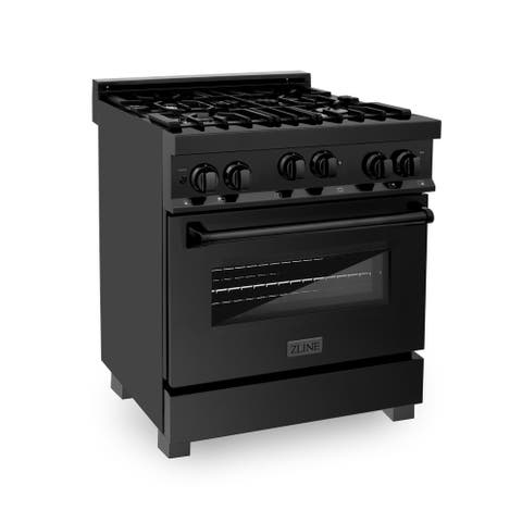 ZLINE Range with Gas Stove and Gas Oven in Black Stainless Steel