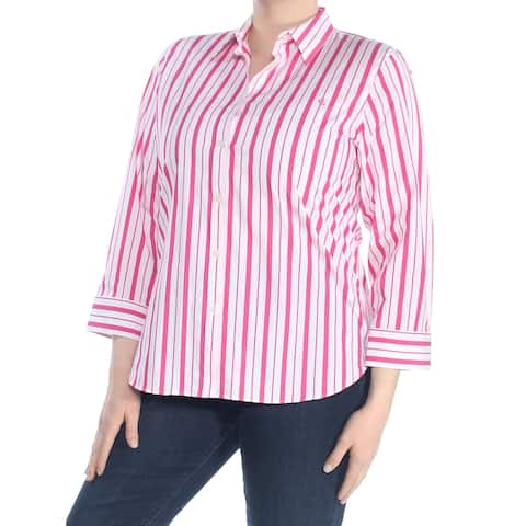 RALPH LAUREN Womens White Striped 3/4 Sleeve Collared Button Up Top Size: M