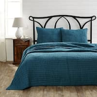 Bella Taylor Rochelle Aegean Blue 3 Piece King Quilt Set with 2 Shams