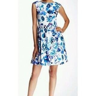 Eliza J NEW Blue Women's Size 10 Stretch Pleated Floral Print Dress