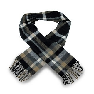100% Cashmere Black / Brown Plaid Fringed Scarf
