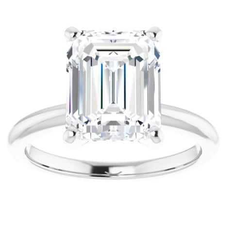 4Ct Emerald Cut Solitaire Moissanite Engagement Ring White Yellow or Rose Gold