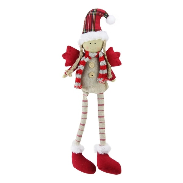 """14"""" Sitting Girl Angel with Dangling Legs with a Plaid Hat Tabletop Decoration"""