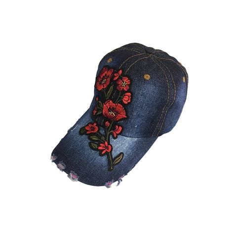 Embroidery Flower Baseball hat Denim Adjustable Cap