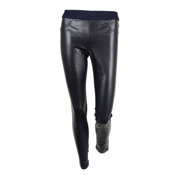INC International Concepts Women's Faux Leather Skinny Jeans - Indigo