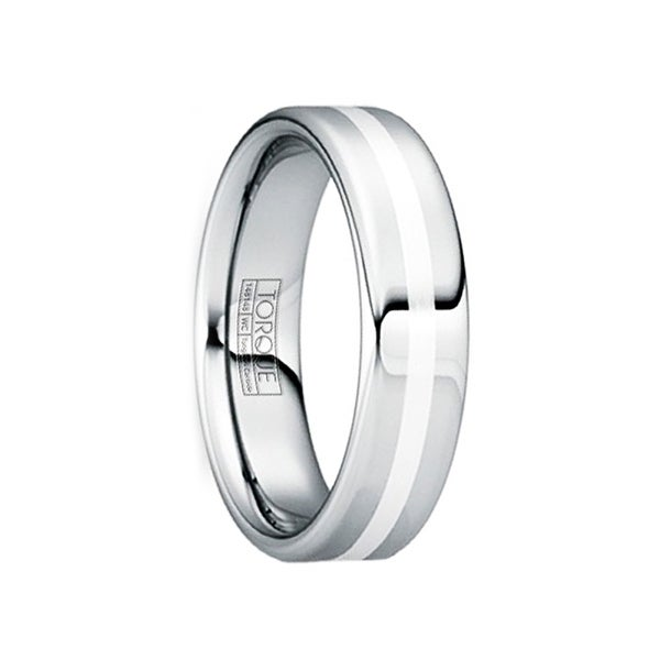 TULLIUS Silver Inlaid Tungsten Wedding Band with Polished Finish by Crown Ring - 6mm
