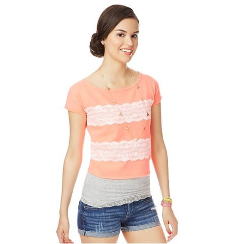Aeropostale Womens Zip Lace Embellished T-Shirt