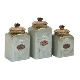 """Set of 3 Aldermann Coffee, Tea and Sugar Retro Inspired Ceramic and Wood Canisters 9"""""""