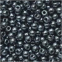 True2 Czech Glass, Round Druk Beads 2mm, 200 Pieces, Jet Hematite
