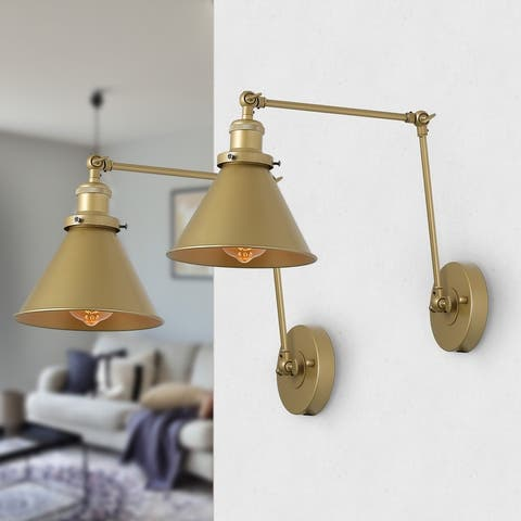 "Modern & Contemporary Swing Arm Wall Sconce Flush Mount Wall Lights for Bedroom - L 21"" x W 7.3 ""x H8"""