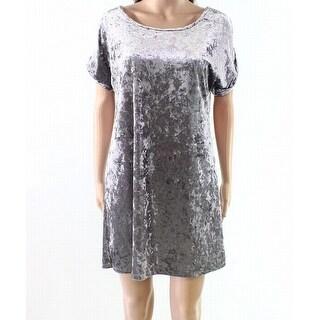 The Vanity Room Silver Womens Size Small S Velvet Shift Dress