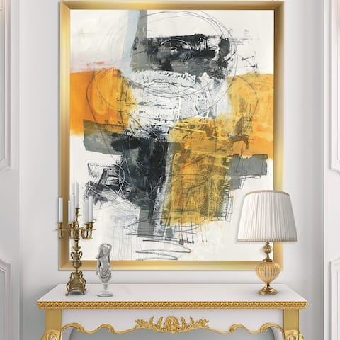 Designart 'Abstract Composition of Glamorous Yellow and Black' Contemporary Framed Art Print