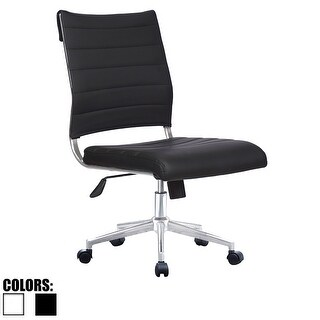 2xhome Ergonomic Executive Mid back PU Leather Office Chair Armless Side No Arms Tilt With Wheels Padded Seat Cushion - N/A