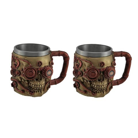 Set of 2 Metallic Copper Steampunk Skull Mugs with Steel Liners - 4.25 X 5.75 X 4.25 inches