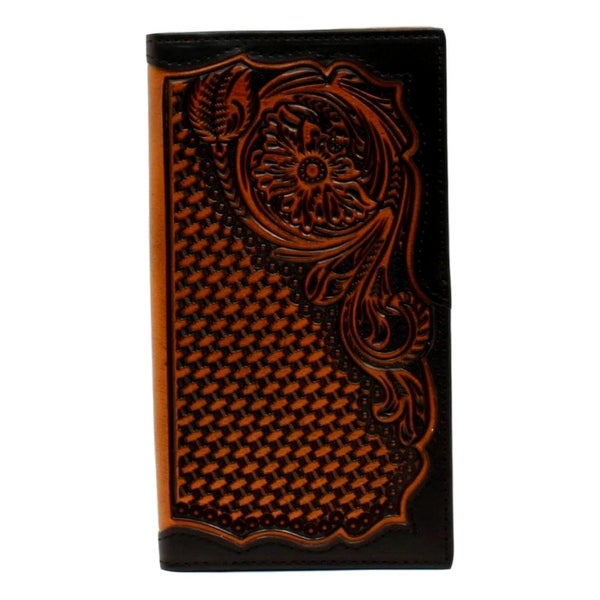 Ariat Western Wallet Mens Rodeo Embossed Floral Black Tan - One size