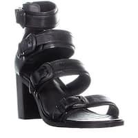 FRYE Danica Western Buckle Heeled Sandals, Black