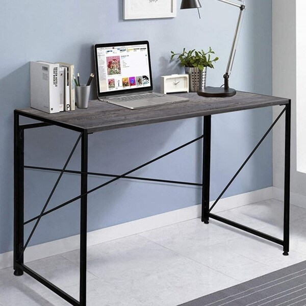 NOVA FURNITURE Folding Home Office Computer Desk, Writing Desk for Urban Apartment and Dormitory, Grey Oak Desktop. Opens flyout.