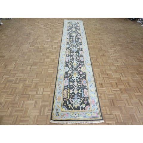 """Hand Knotted Charcoal Black Oushak with Wool Oriental Rug (3'1"""" x 16') - 3'1"""" x 16'"""