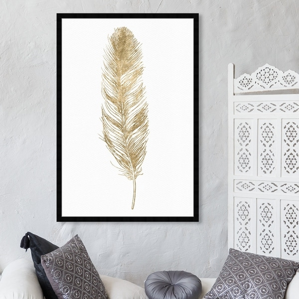 Oliver Gal 'Feather' Fashion and Glam Wall Art Framed Print Feathers - Gold, White. Opens flyout.